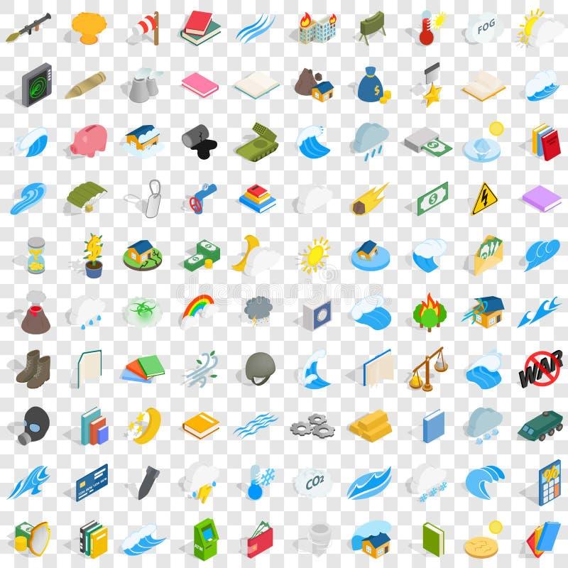 100 Kraftikonen eingestellt, isometrische Art 3d lizenzfreie abbildung