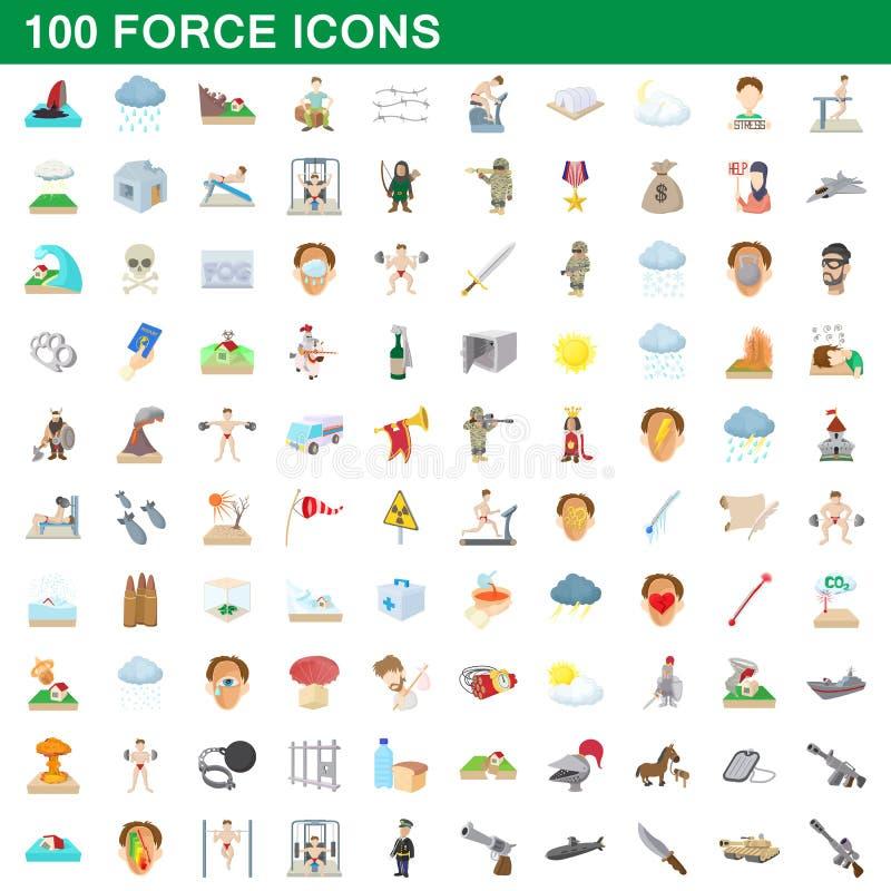 100 Kraftikonen eingestellt, Karikaturart stock abbildung
