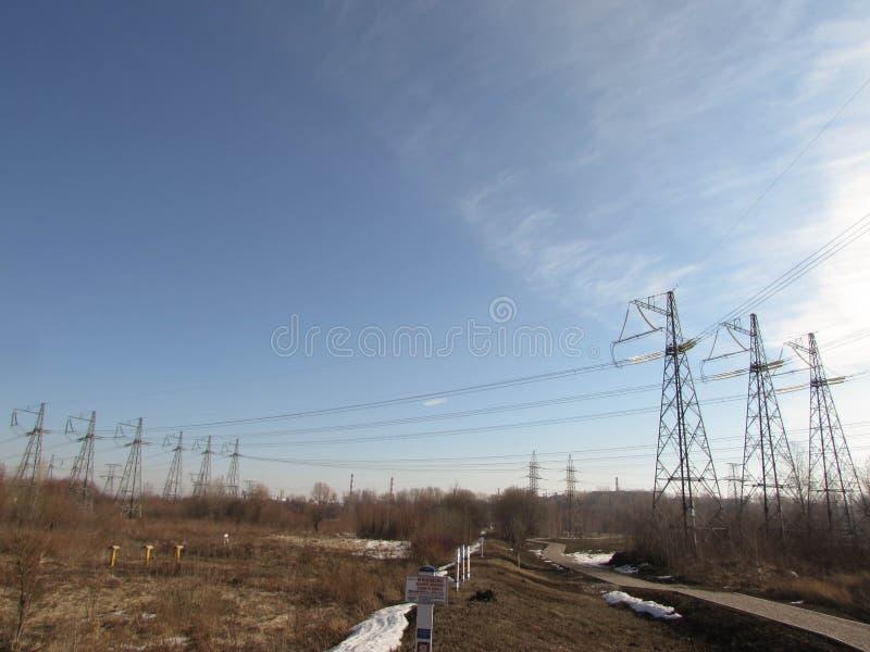 Kraftledning i Moskva arkivbilder