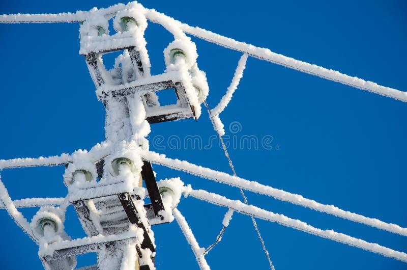 Kraftledning i rimfrost royaltyfri bild