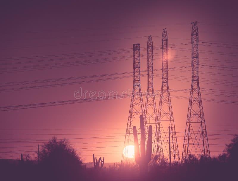 Kraftledningpoler på solnedgången arkivbilder
