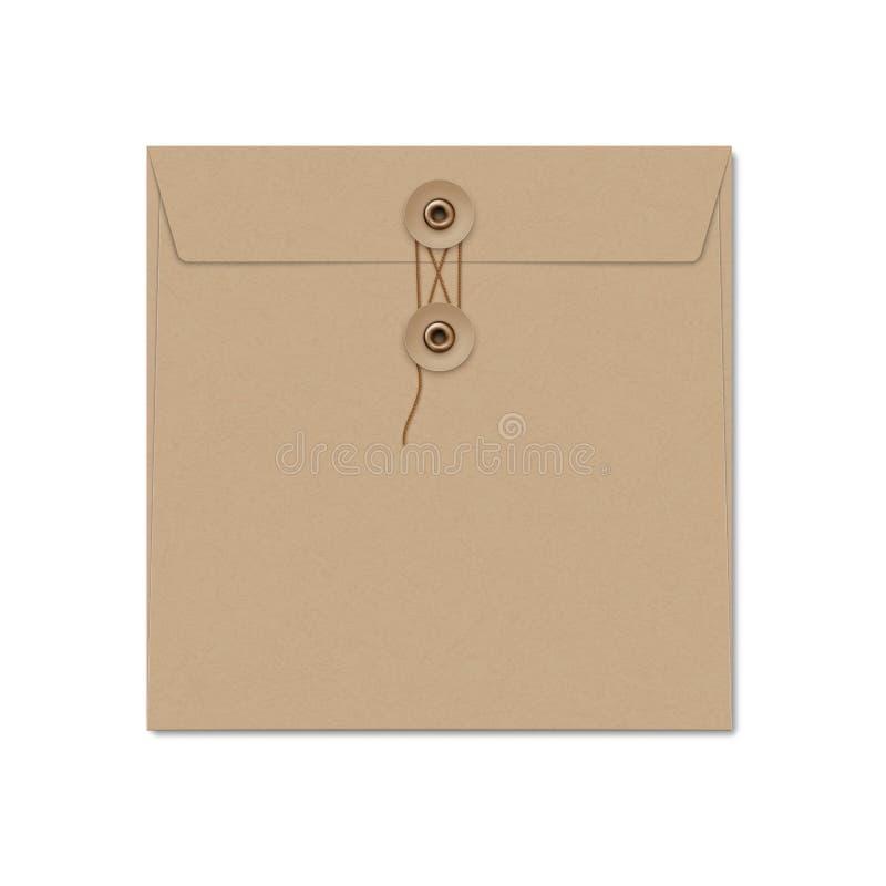 Kraftpapier-document de vierkante envelop van de koordband op wit stock afbeelding