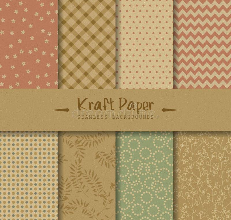 Kraftpapier-nahtlose Hintergründe stock abbildung