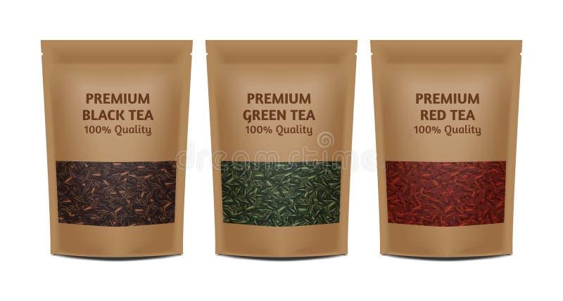 Kraftpapiertaschen-Paketschablone auf weißem Hintergrund Satz-Modellsammlung des Vektors realistische Grüner, schwarzer, roter Te lizenzfreie abbildung