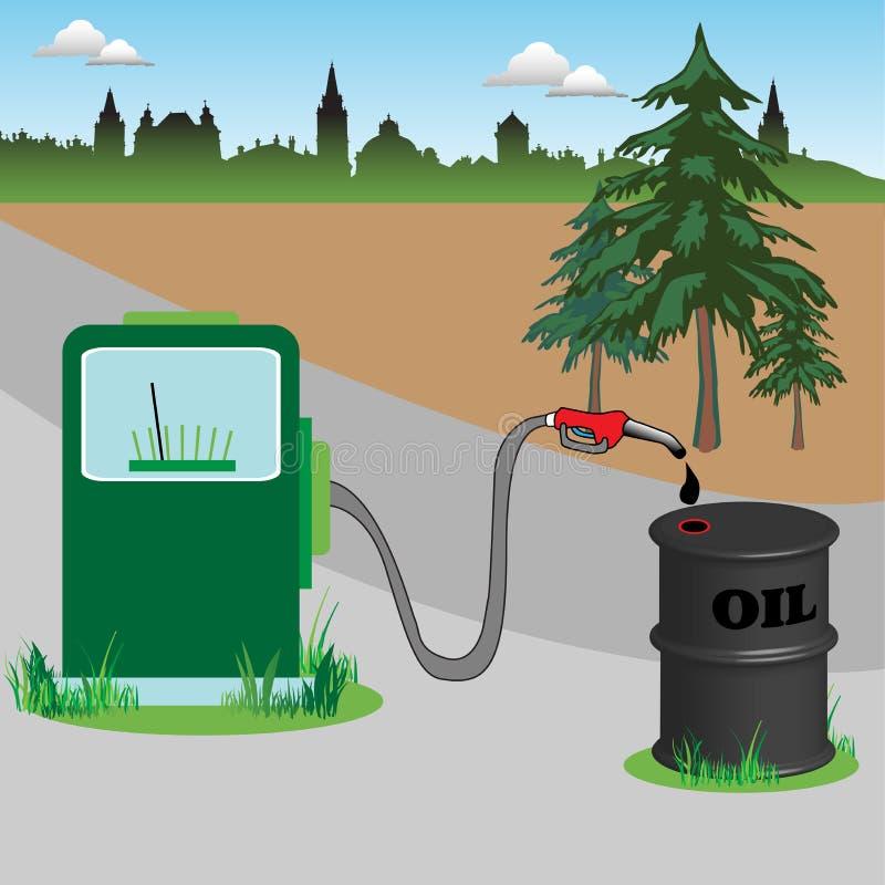 Kraftstoffpumpe- und Ölbarrel vektor abbildung