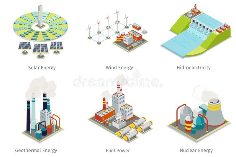 Kraftverksymboler Växter och källor för elektricitetsutveckling vektor illustrationer