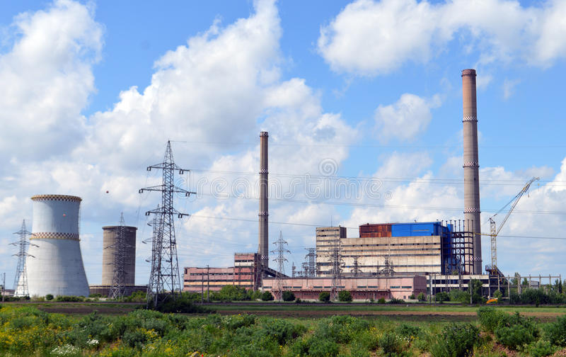 Kraftwerk in Arad Romania stockfotos