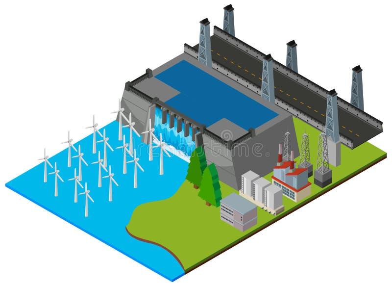 Kraftwerk durch die Verdammung stock abbildung