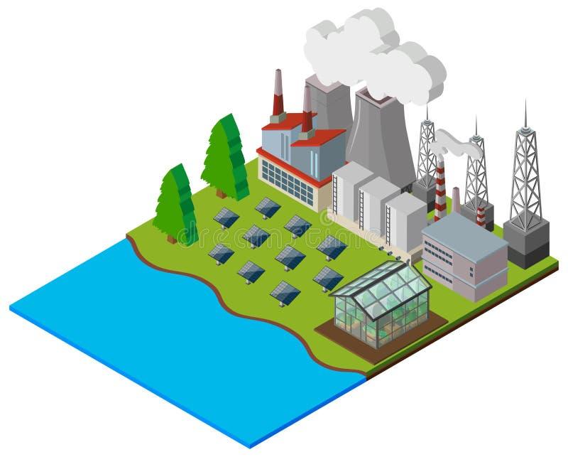 Kraftwerk mit Solarzellen stock abbildung