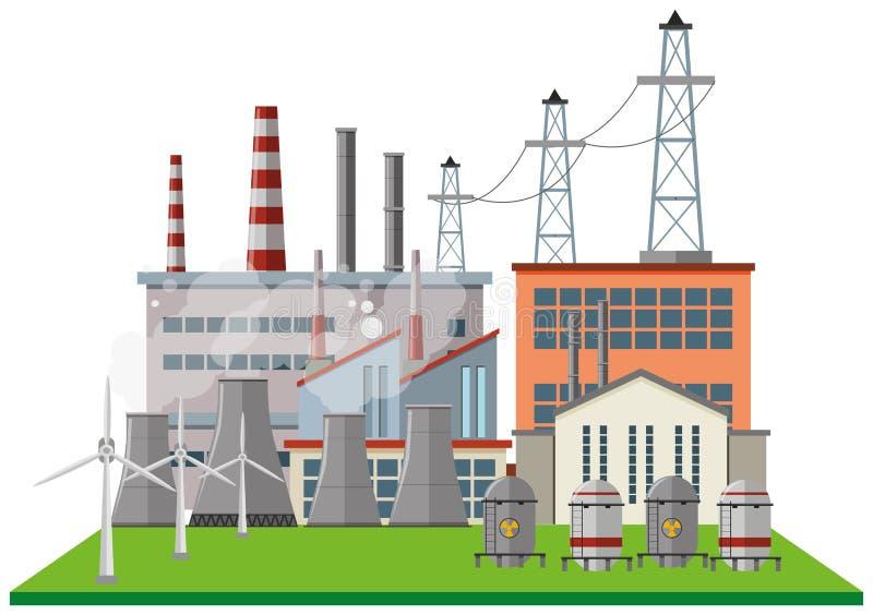 Kraftwerk mit vielen Gebäuden und Turbinen vektor abbildung