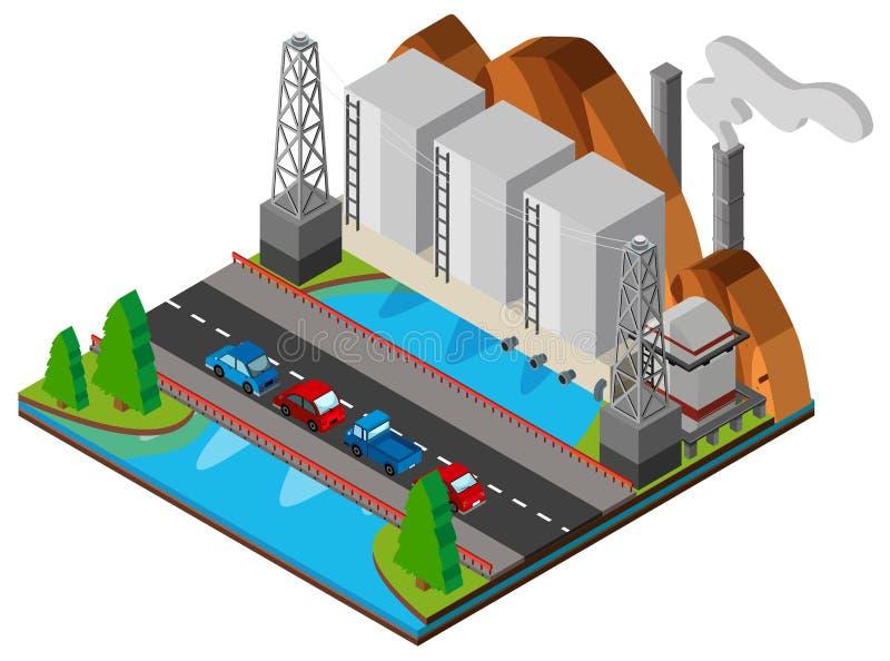Kraftwerk und Brücke über dem Fluss lizenzfreie abbildung