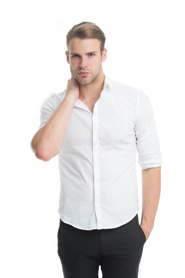 krage isolerad vit arbetare Arbetande kod för formell klänning Prästerlig och mellersta kedjeledning Mannen ansade väl formellt e royaltyfria foton