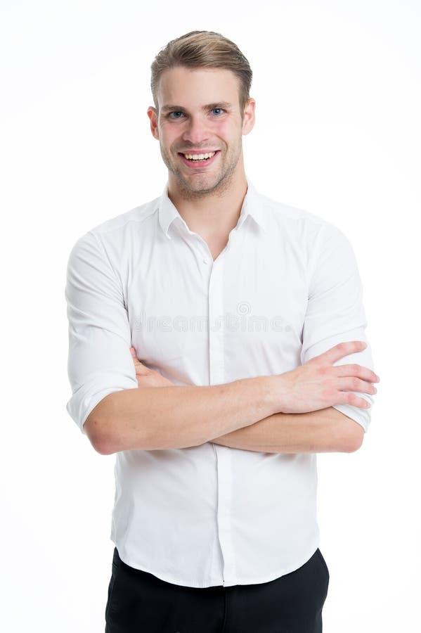 krage isolerad vit arbetare Mannen ansade väl vit bakgrund för den formella eleganta skjortan Formell stil för Menswear Stiligt k arkivfoton