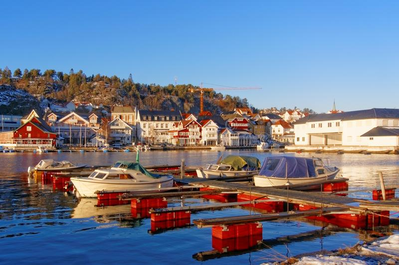 Kragero harbour in Norway. Picturesque scenery of the Kragero town harbour in Norway, Telemark County, HDR technique. Winter scenery royalty free stock image