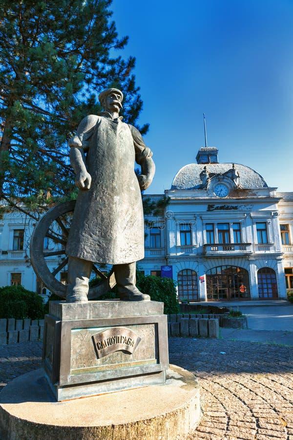 Kragujevac Serbien - Juli 18, 2016: Stara Livnica område, Zastava gammal övergiven Zastava fabrik i Kragujevac, Serbien underbart royaltyfri fotografi
