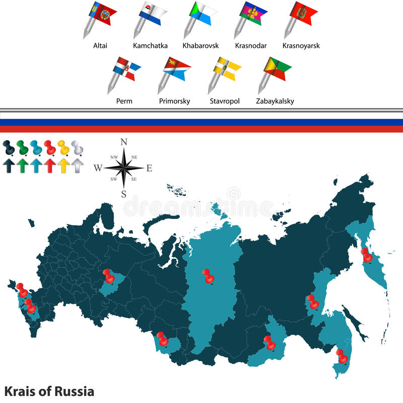 Krais of Russia vector illustration