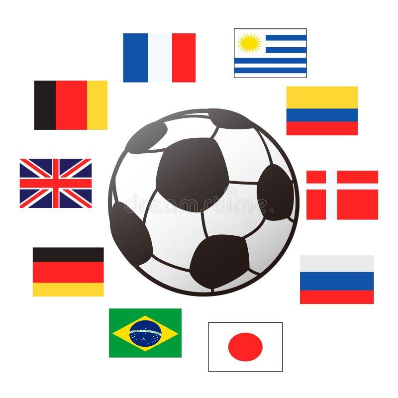 Kraj flaga wokoło piłki nożnej piłki ilustracja wektor