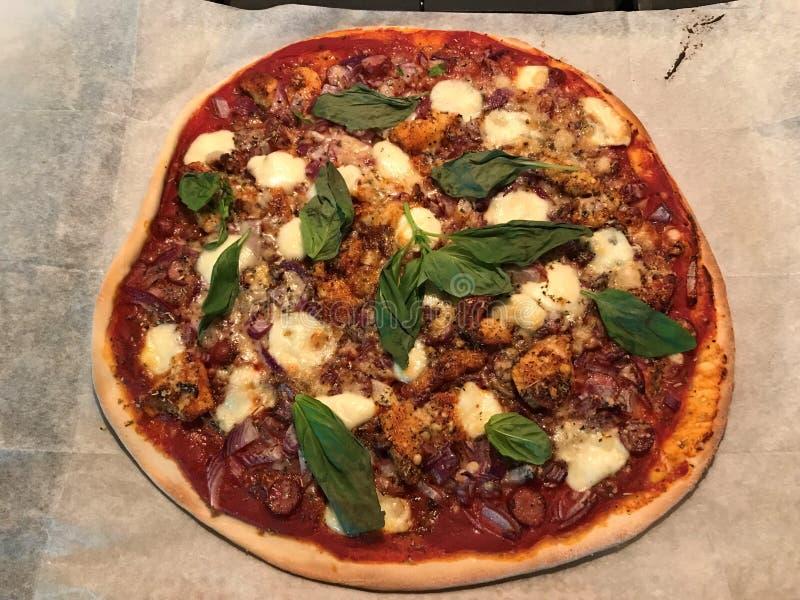 Kraj pizza z kurczakiem, łowieckimi kiełbasami i serem, zdjęcia stock