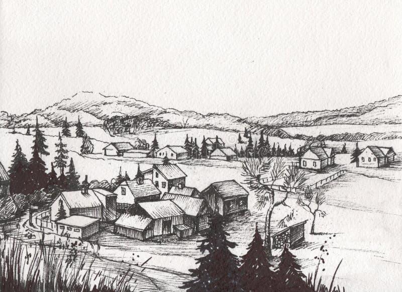 Kraj strona tonie krajobraz ilustracja wektor