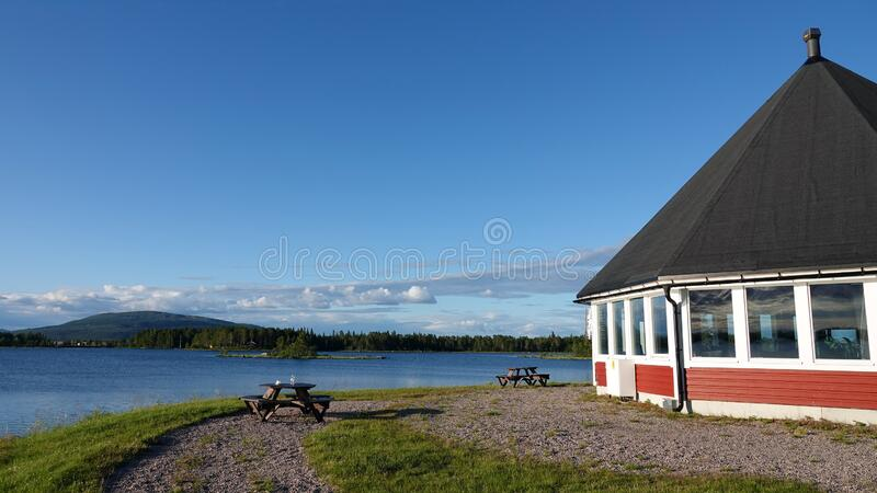 Kraja Camping at Lake Hornavan near Arjeplog in summer in Lapland, Sweden stock photos