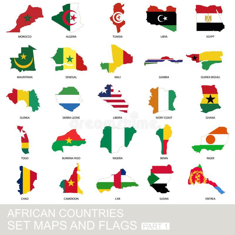 Kraje afrykańscy ustawiający, mapy i flagi, ilustracji