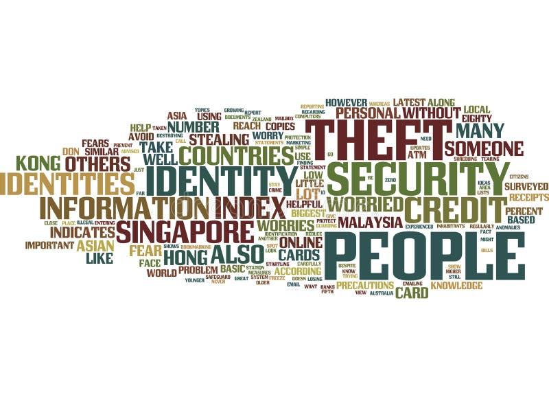 Kraje Azjatyccy Martwiący się O tożsamości kradzieży słowa chmury pojęciu ilustracja wektor
