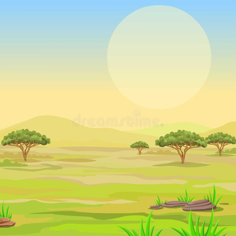 Krajobraz Afrykańska sawanna royalty ilustracja