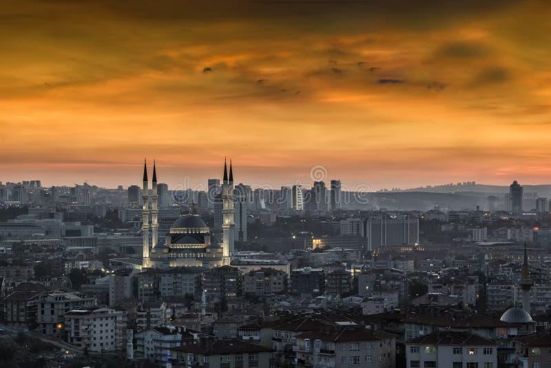 Krajobraz Ankara przy zmierzchem obrazy stock