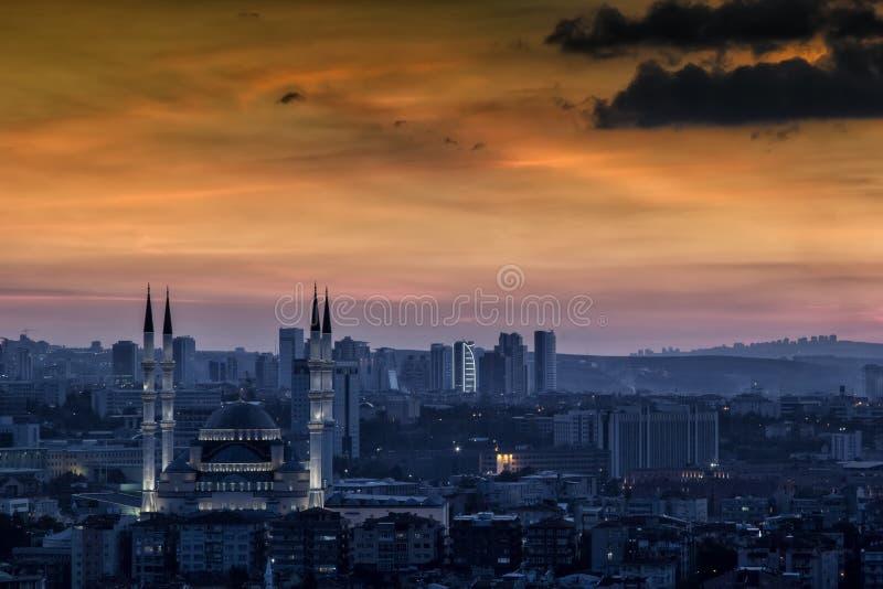 Krajobraz Ankara przy zmierzchem zdjęcie stock