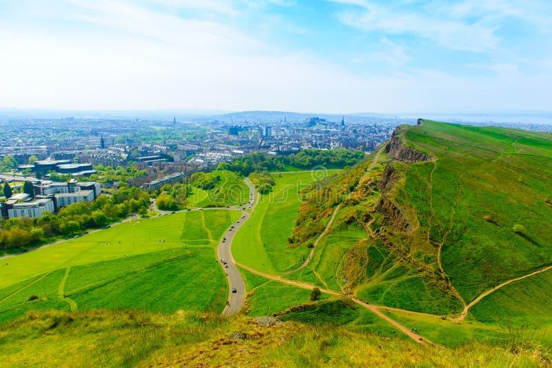 Krajobraz authur siedzenie w Edynburg obrazy royalty free