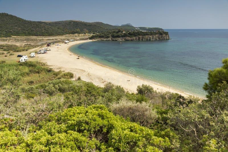 Krajobraz Azapiko plaża, Chalkidiki, Sithonia, Środkowy Macedonia fotografia stock