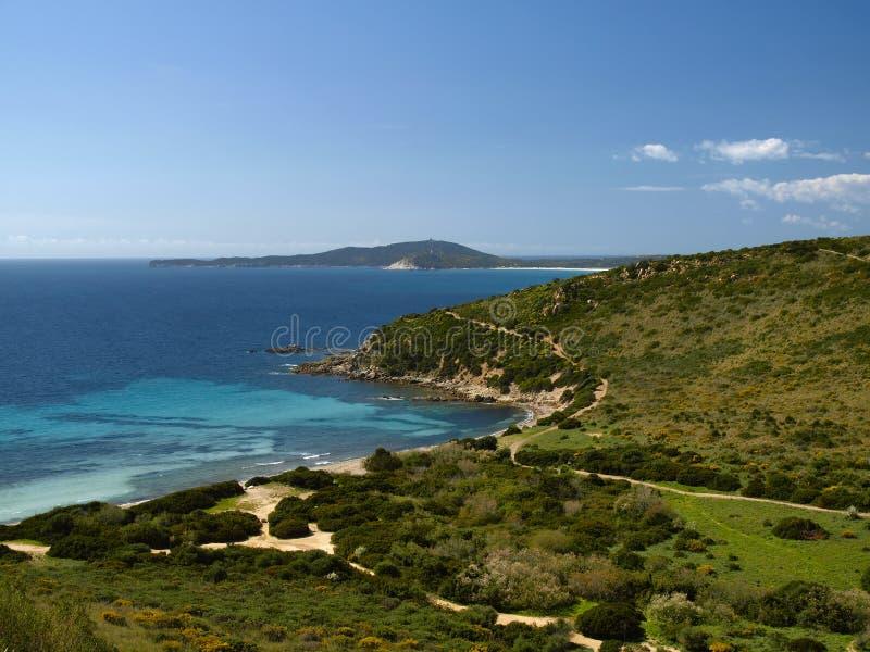 Krajobraz blisko Villasimius, Sardinia, Włochy zdjęcie stock