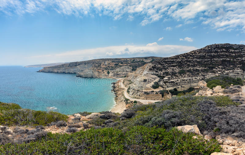 Krajobraz Crete wyspa z piękną laguną i zielonymi górami obraz stock