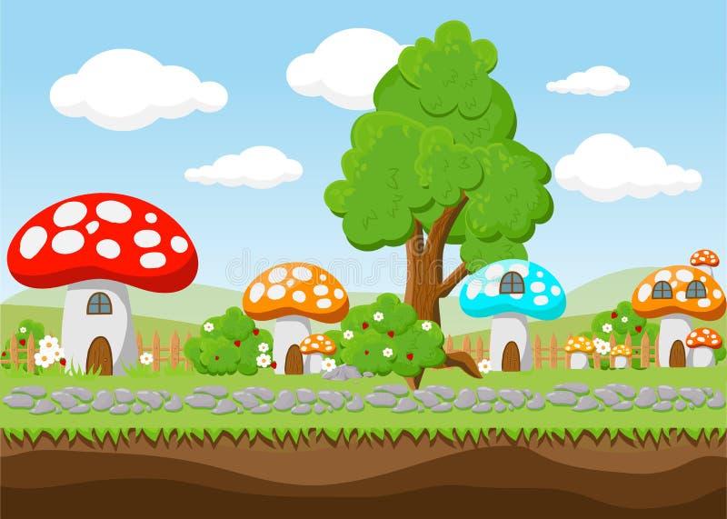 Krajobraz dla gry Tło dla gry Bezszwowy kreskówka krajobraz bez końca tło royalty ilustracja