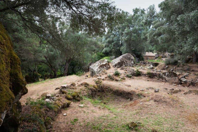 Krajobraz Filitosa megalityczny miejsce corsica zdjęcia royalty free