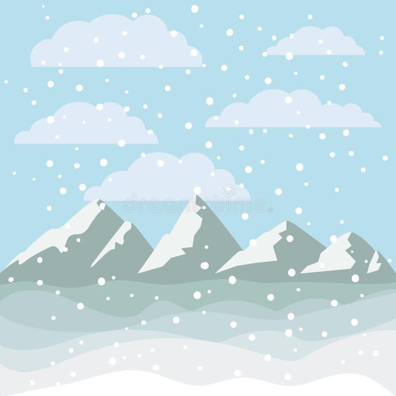 Krajobraz góry i snowing projekt ilustracja wektor