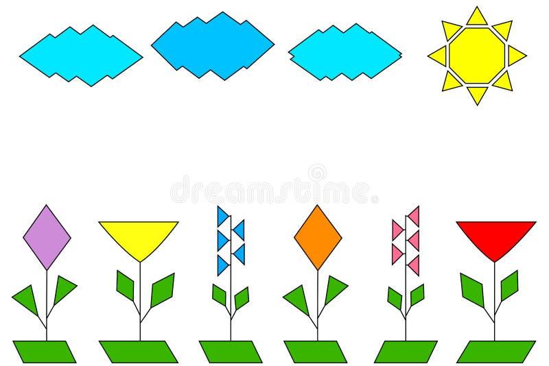 Krajobraz geometrically patroszeni kolorowi kwiaty, chmury i słońce, ilustracja wektor