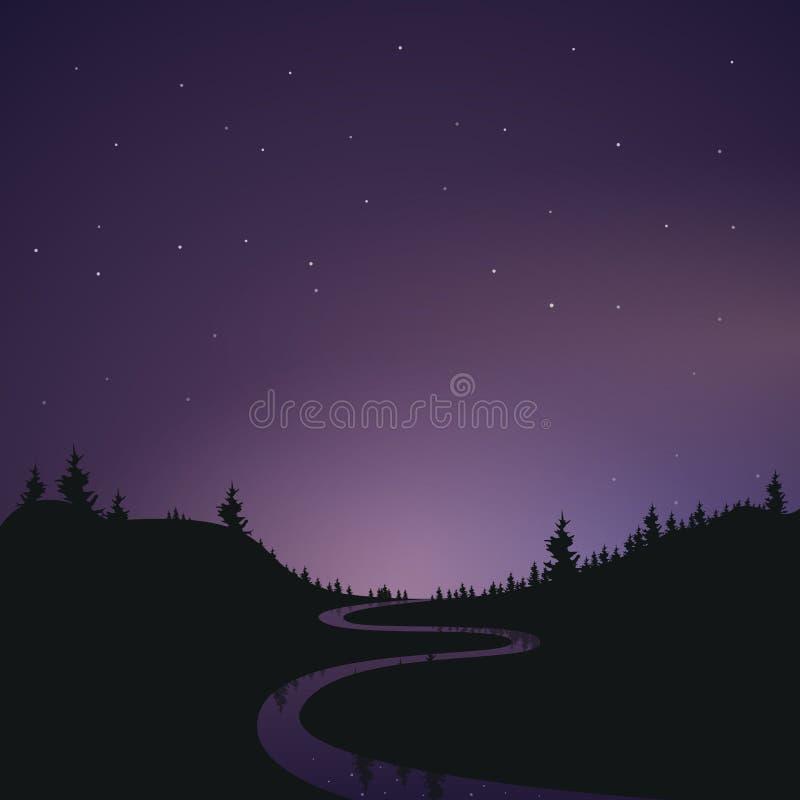 Krajobraz gwieździsty nocny baner Sylwetka lasu Odbicie gwiazd w rzece Widok z royalty ilustracja
