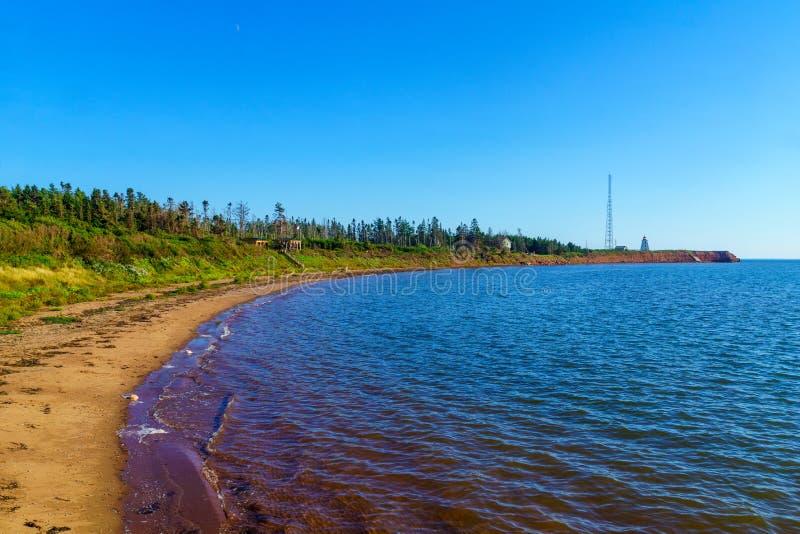 Krajobraz i latarnia morska w przylądku Egmont, PEI fotografia royalty free