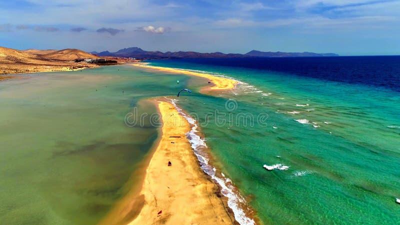 Krajobraz i widok piękny Fuerteventura przy wyspami kanaryjskimi, Hiszpania obrazy stock