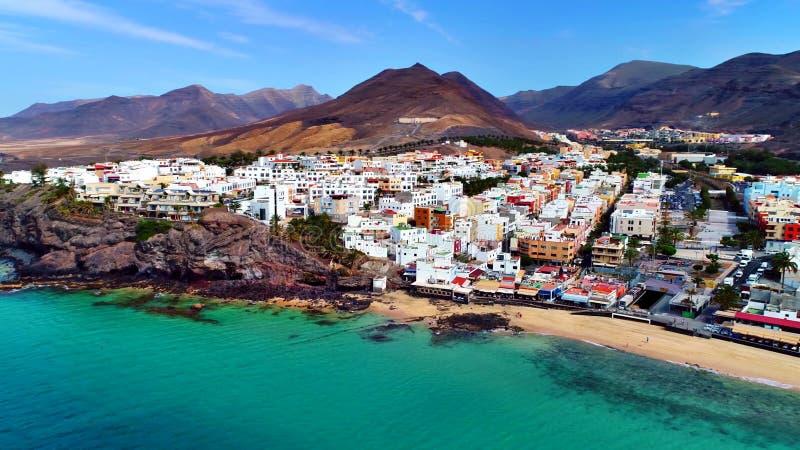 Krajobraz i widok piękny Fuerteventura przy wyspami kanaryjskimi, Hiszpania fotografia stock