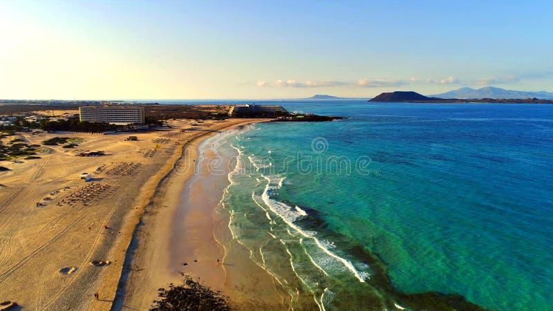 Krajobraz i widok piękny Fuerteventura przy wyspami kanaryjskimi, Hiszpania zdjęcia stock