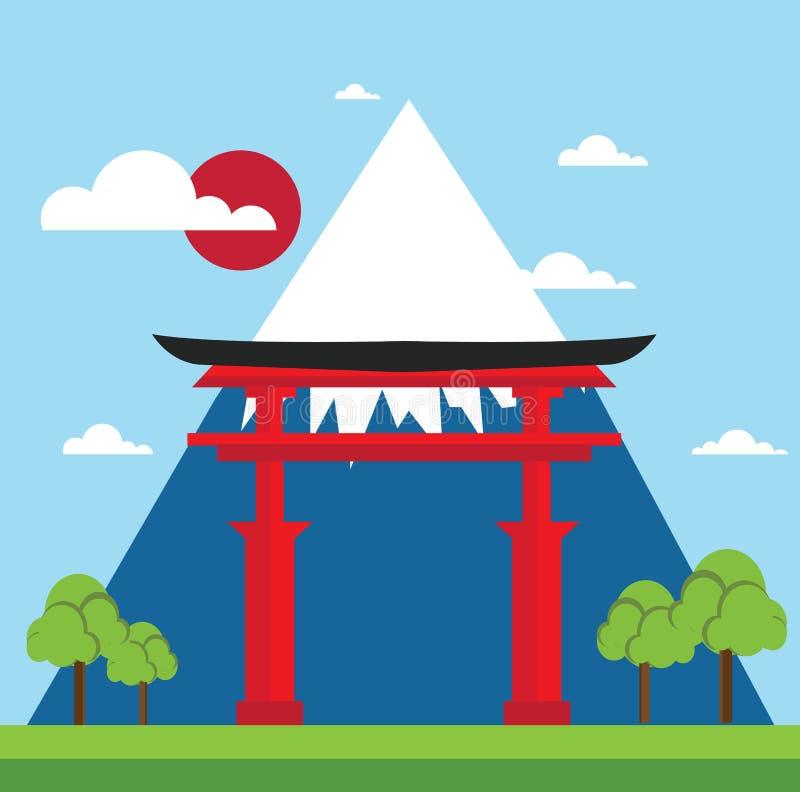 Krajobraz Japan brama ilustracja wektor