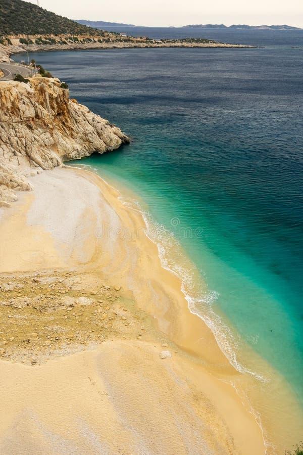 Krajobraz Kaputas plaża w Kasa, Kalkan, Antalya, Turcja Lycian sposób Lata i wakacje pojęcie fotografia stock