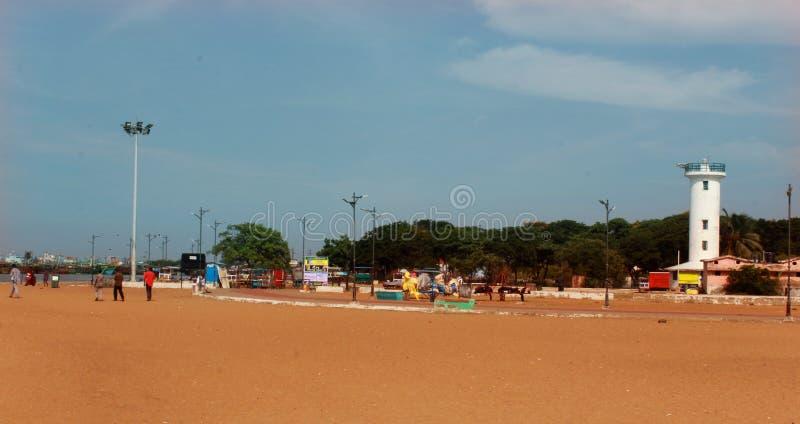 Krajobraz karaikal plaża z lekkim domem zdjęcie royalty free