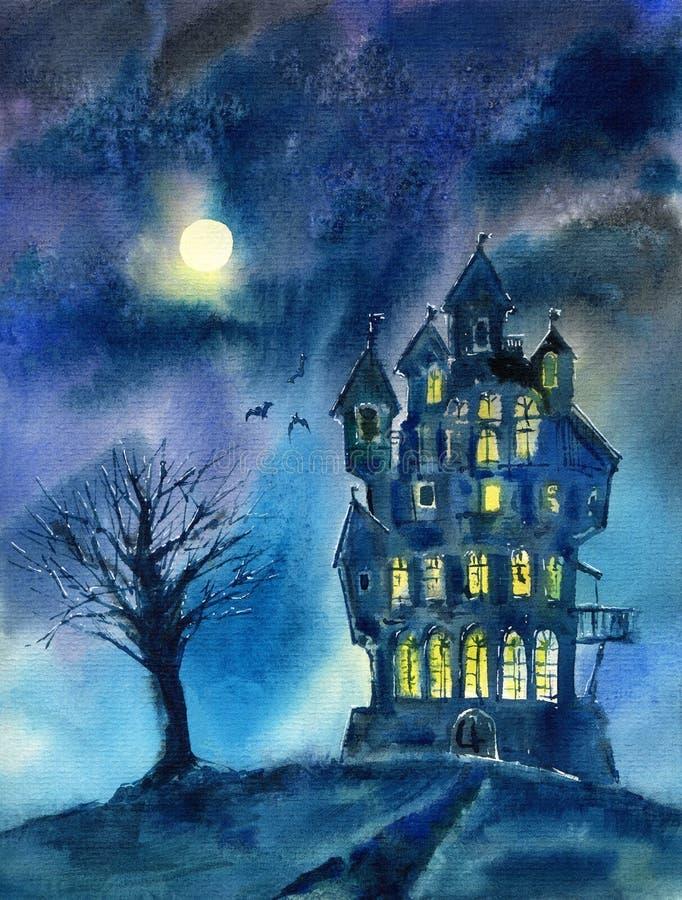 Krajobraz kasztel, drzewo, księżyc i nietoperz, Mistyczny noc widok ilustracji