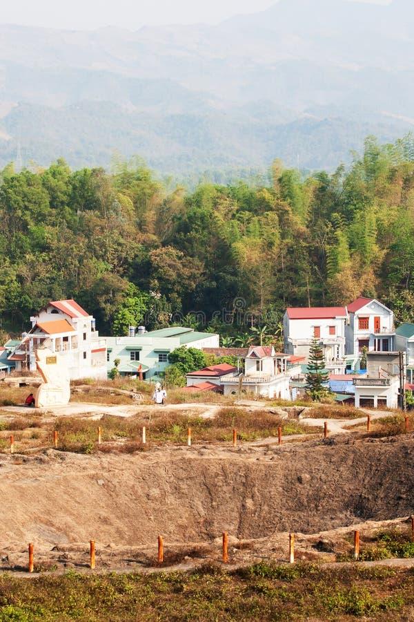 Krajobraz krater A 1 wzgórze przy Dien Bien Phu, Wietnam zdjęcia royalty free