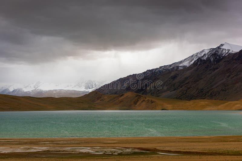 Krajobraz Ladakh z śnieżnymi górami w pobliżu jeziora Tso Moriri fotografia royalty free