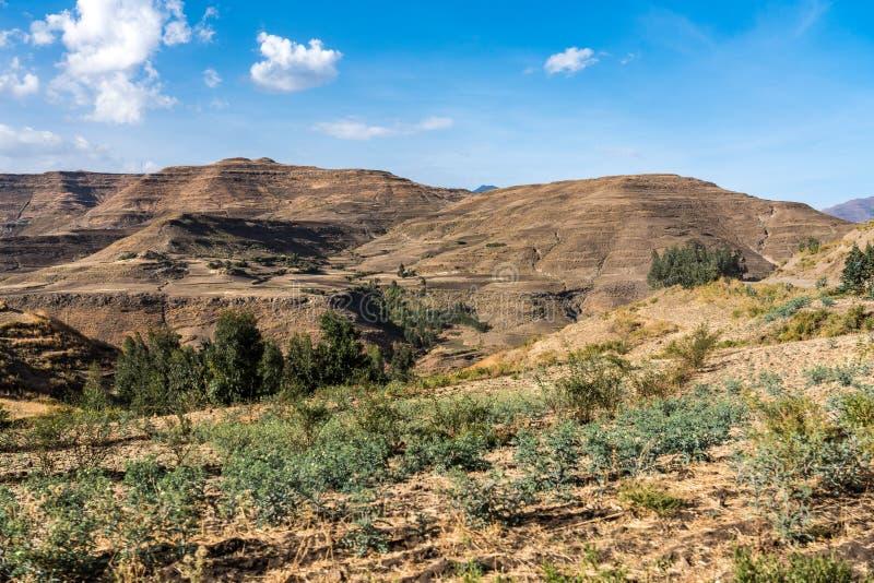 Krajobraz mi?dzy Gheralta i Lalibela w Tigray, Etiopia, Afryka zdjęcia stock