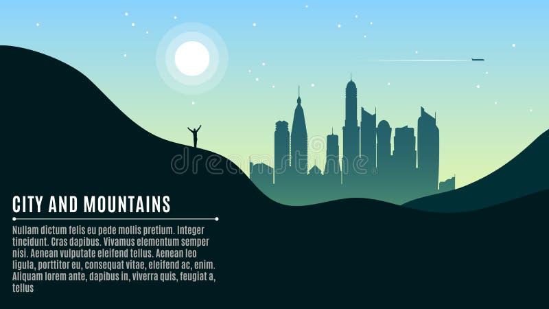 Krajobraz na górkowatych górach i dużym ranku mieście Podróżnik macha jego ręki Miejsce dla twój projektów Wektorowy illustr ilustracji